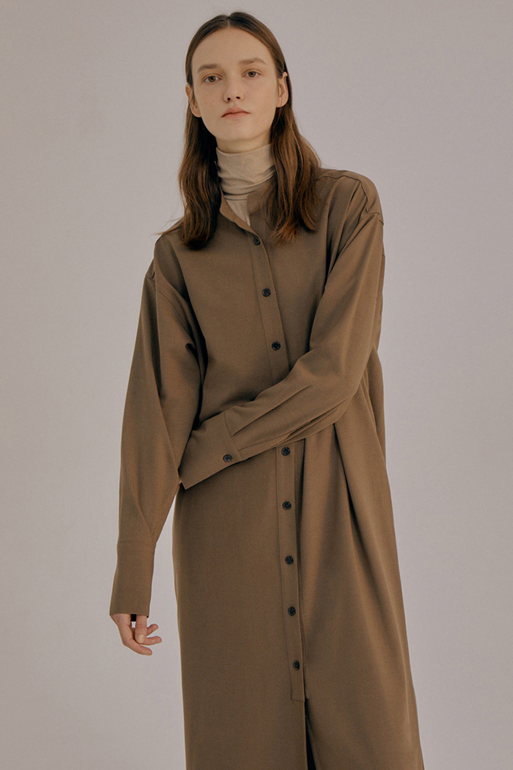 China collar dress_Brown